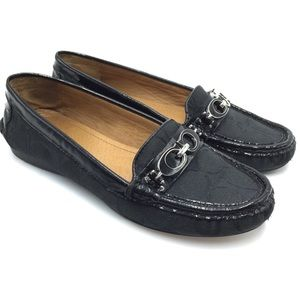 Coach Black Leather Logo Drivers Loafers Shoes